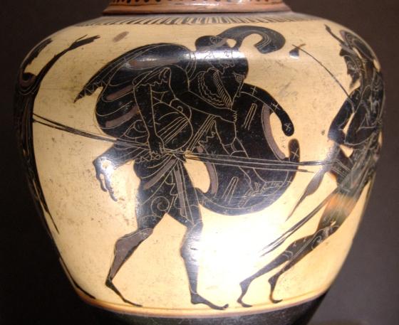 Enea fugge da Troia con il padre Anchise sulle spalle